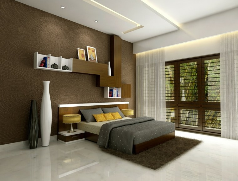 cabeceros estantes superiores muebles marrones
