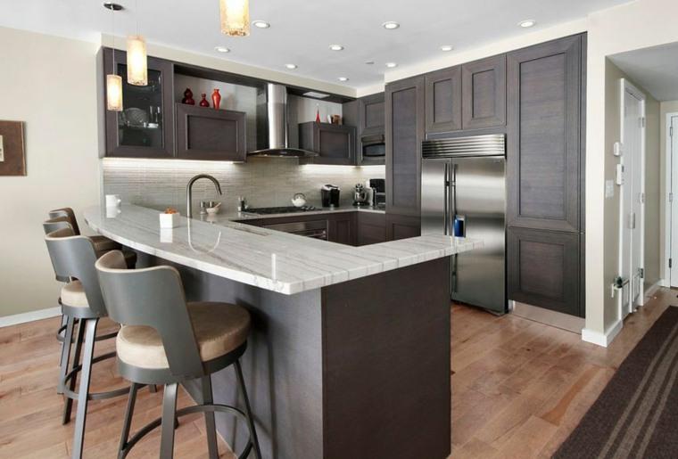 cabinetes oscuros grises espacios decoraciones naturales