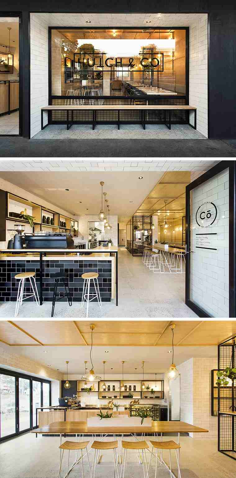 cafeterías con encato disenos banco exterior ideas