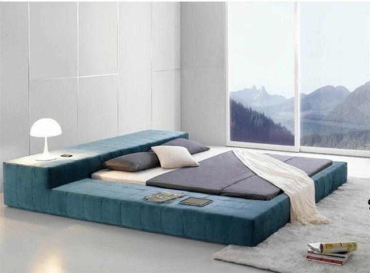camas ideas Velvet Platform azul vistas