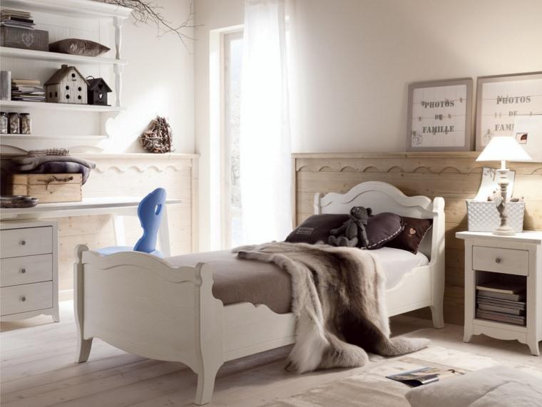 camas infantiles-madera-blanca
