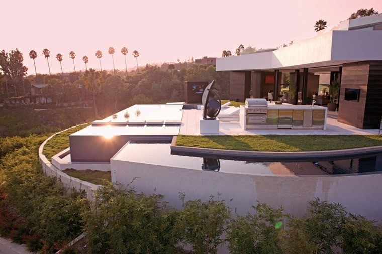 casa jardin dos piscinas arquitectura moderna ideas