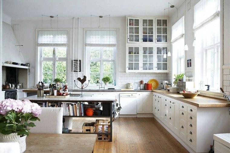 cocina blanca moderna encimeras madera ideas