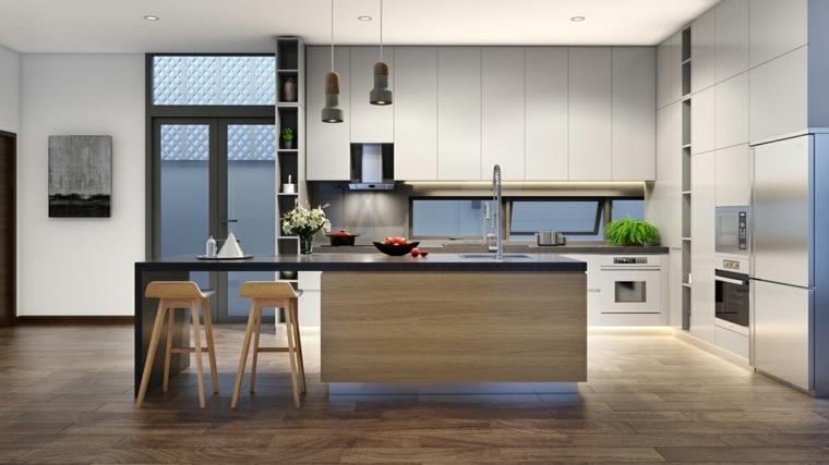 cocina blanca moderna isla madera muebles blancos ideas