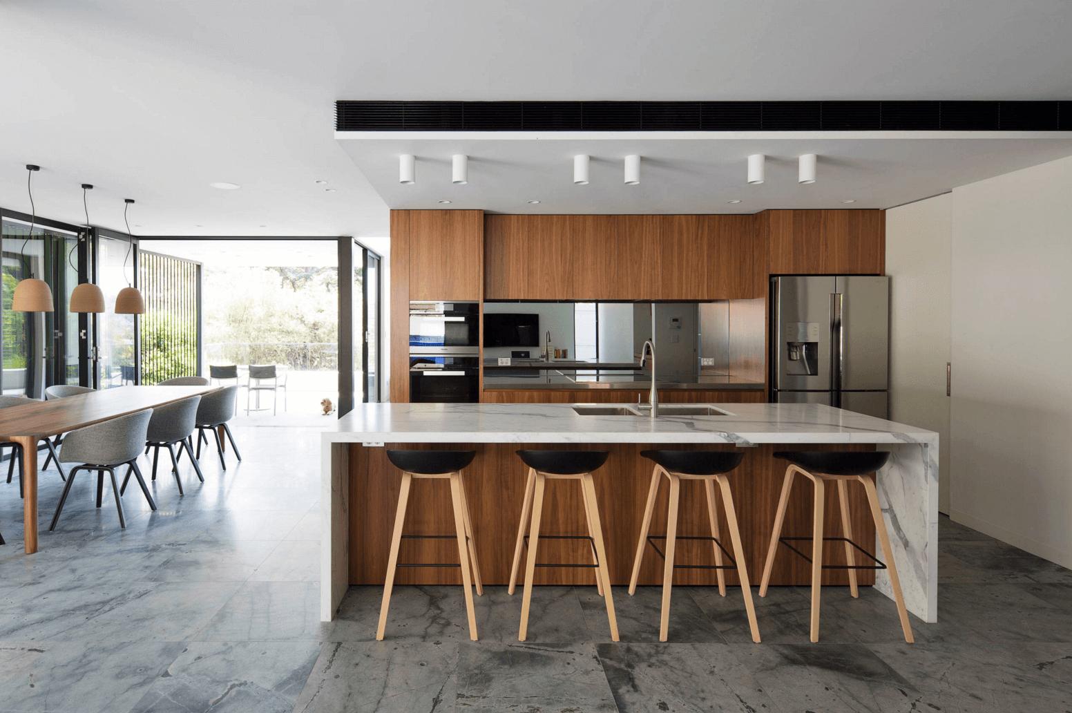 cocina blanca moderna muebles madera encimeras blancas ideas