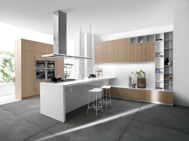 Cocinas blancas modernas con detalles en madera -
