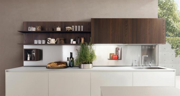 cocina diseno contemporaneo puertas madera oscura ideas