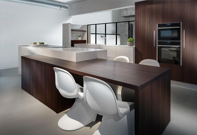 cocina isla mesa madera oscura sillas blancas ideas