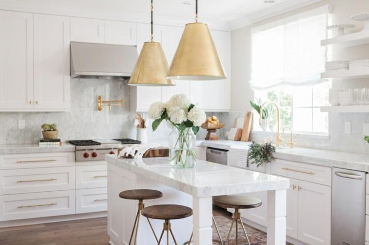 cocina isla pequena encimeras marmol diseno ideas