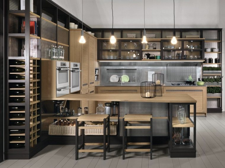cocina madera color negro L Ottocento ideas