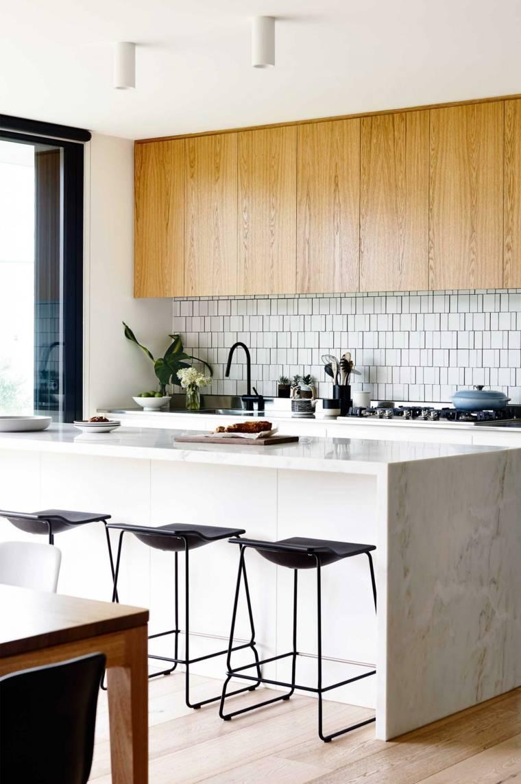 cocina moderna isla sillas negras bellas ideas
