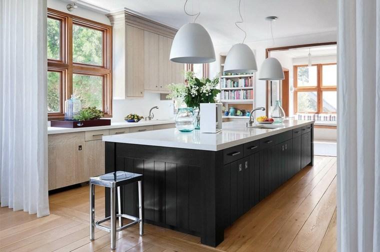 cocina con isla color negro diseno ideas