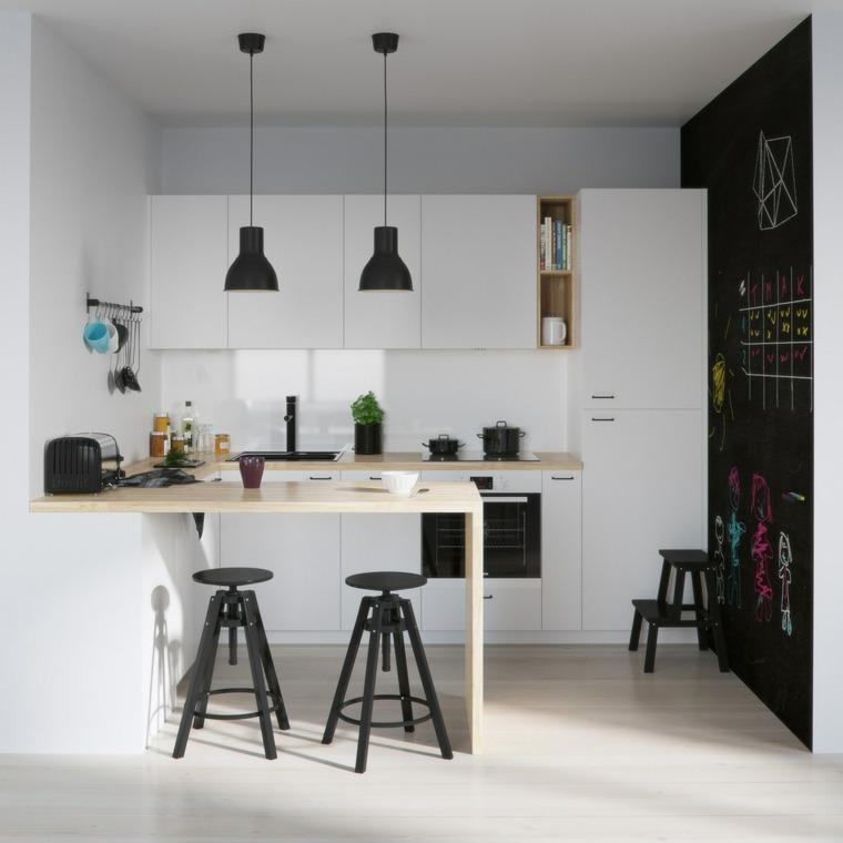 cocina pequena barra madera pared negra ideas