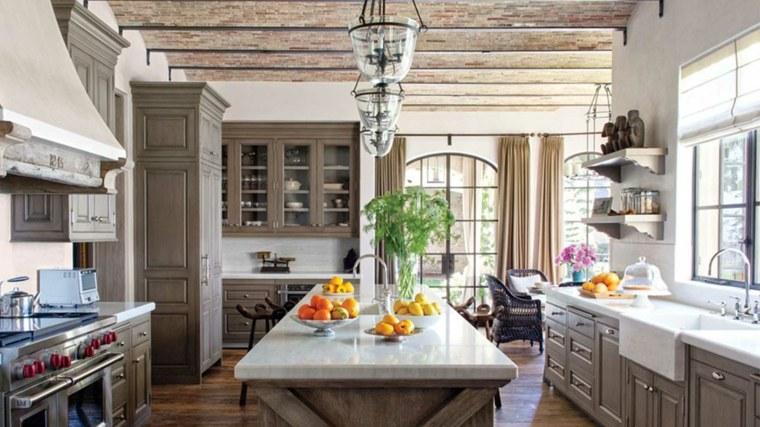 cocina rustica isla encimera madera estilo ideas