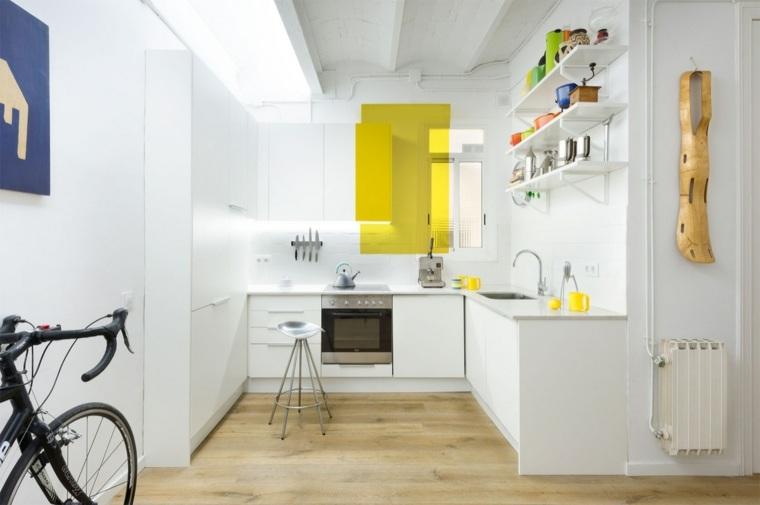 cocinas blancas diseño acento amarillo materiales