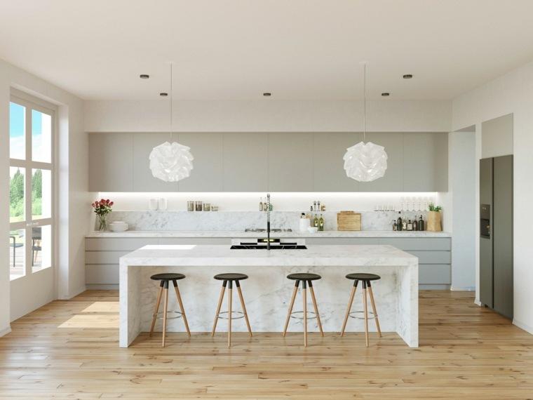 cocinas blancas diseño entradas luz natural colores