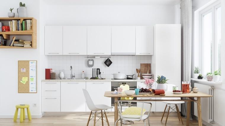 cocinas blancas diseño estantes amarillos materiales