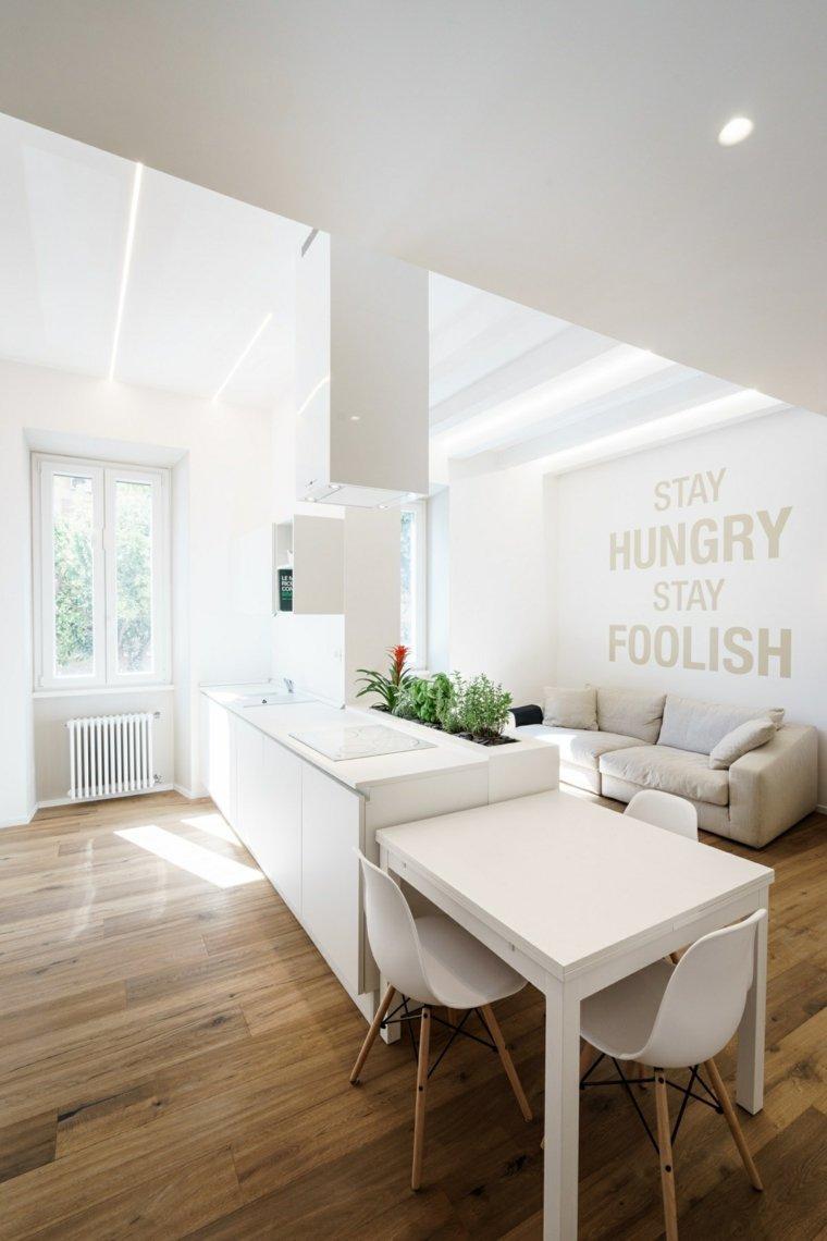 cocinas blancas diseño impresionantes muebles materiales