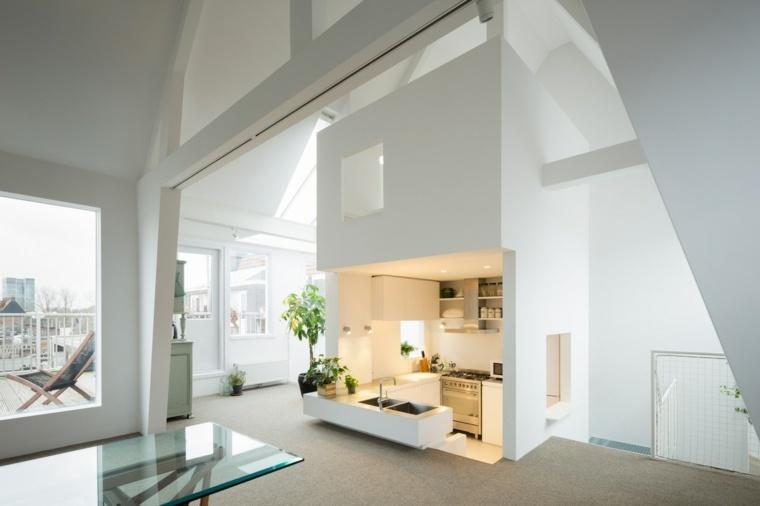 cocinas blancas diseño pequena iluminadas paredes