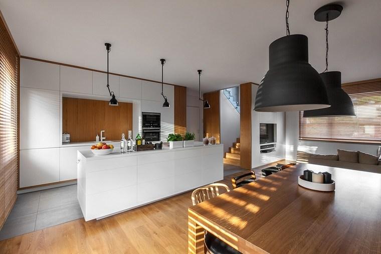 cocinas blancas modernas apartamento blanco madera ideas