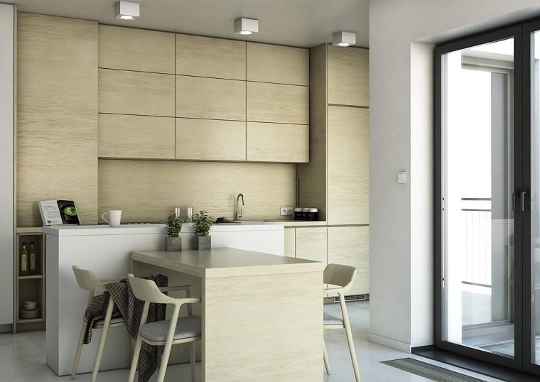 cocinas blancas modernas barra muebles madera ideas