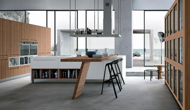 cocinas blancas modernas barra original madera ideas