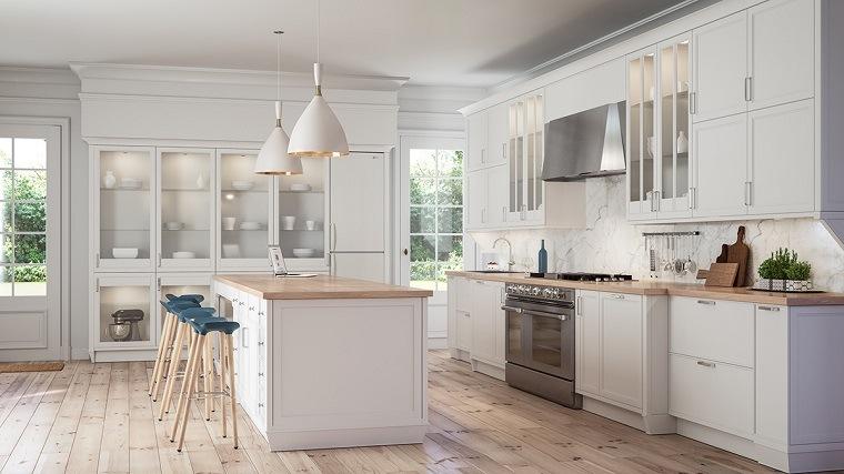 Cocinas blancas modernas con detalles en madera for Encimeras de madera para cocinas