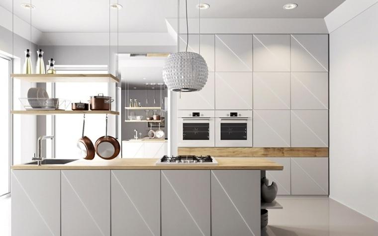 cocinas blancas modernas encimeras madera muebles ideas