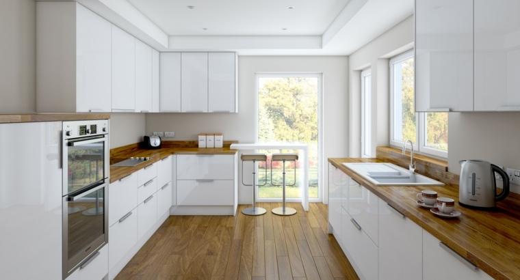 cocinas blancas modernas encimeras suelo madera ideas