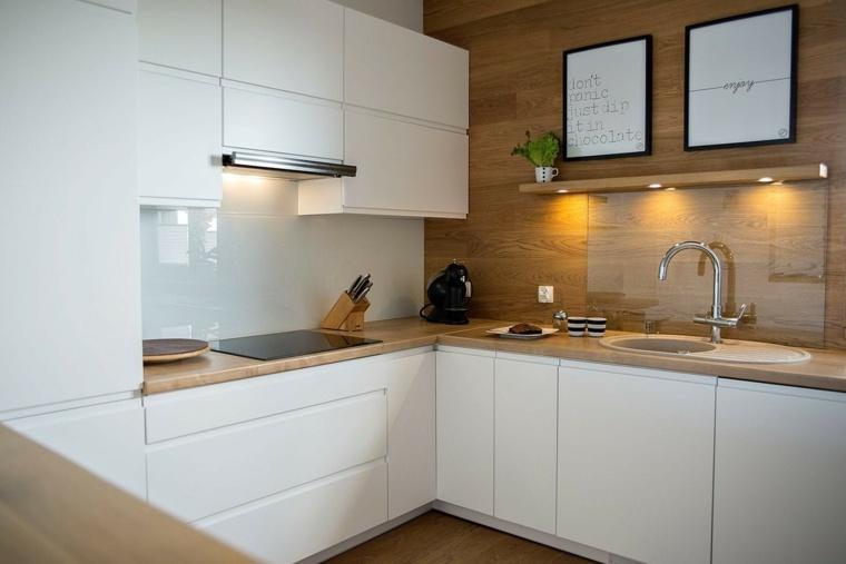 Cocinas blancas modernas con detalles en madera for Ver cocinas modernas