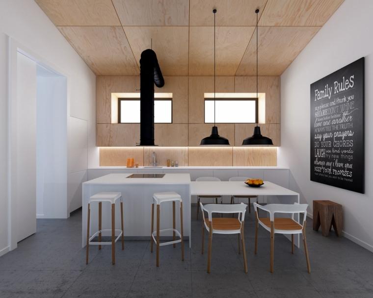 cocinas blancas modernas iluminacion led madera ideas