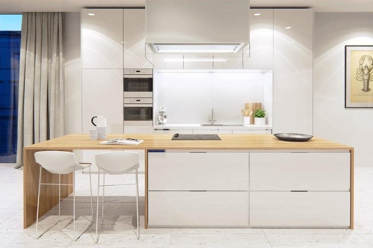 cocinas blancas modernas isla espacio almacenamiento madera ideas