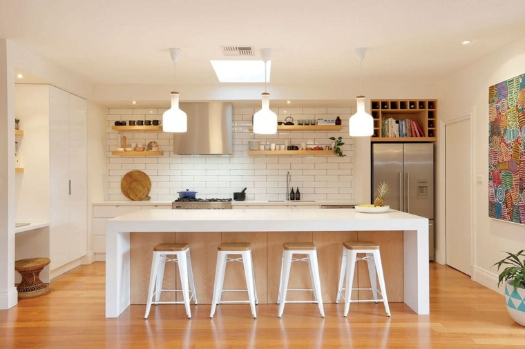 Cocinas blancas modernas con detalles en madera for Best kitchen floors 2016