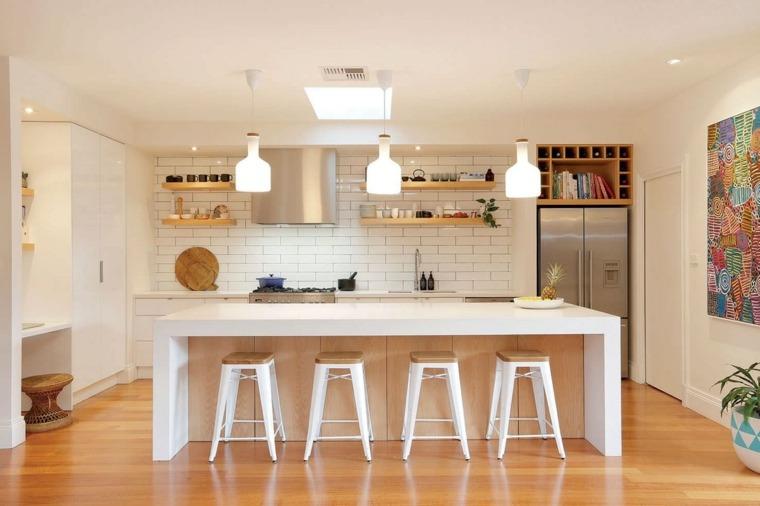 cocinas blancas modernas isla grande losas clasicas ideas
