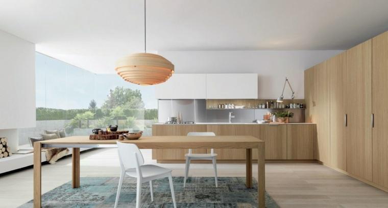 cocinas blancas modernas mesa grande madera ideas