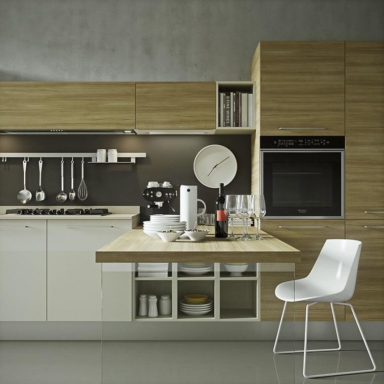cocinas blancas modernas muebles blanco madera opciones ideas
