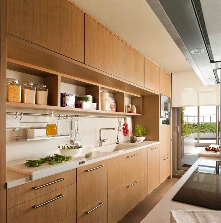 cocinas blancas modernas muebles madera etilo ideas