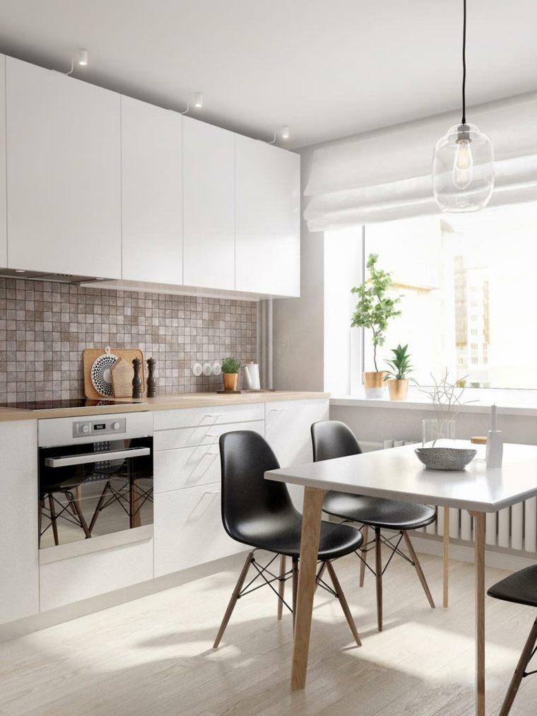 cocinas blancas modernas salpicadero mosaico bello brillante ideas