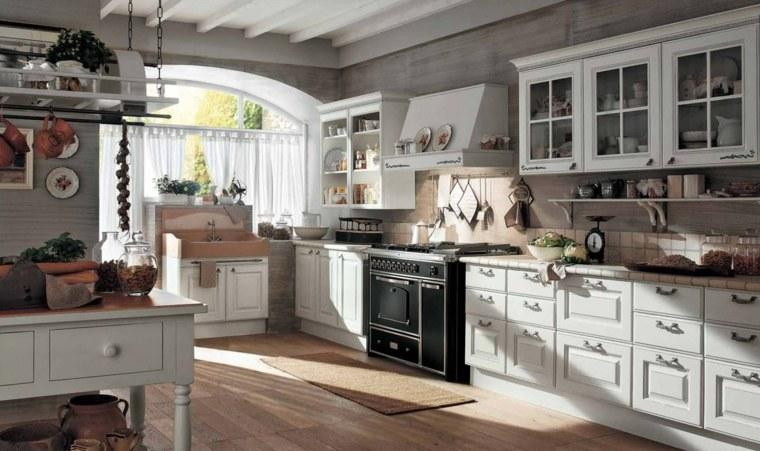 cocinas blancas modernas suelo madera diseno estilo clasico ideas