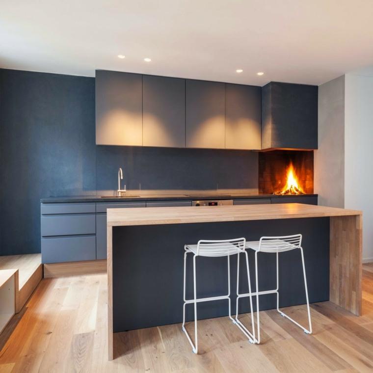 cocinas con isla chimenea estilo moderno ideas