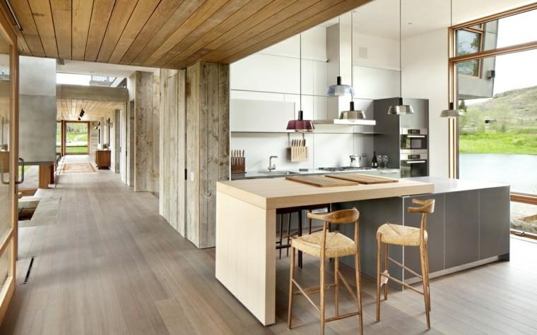 cocinas con isla diseno casas modernas ideas