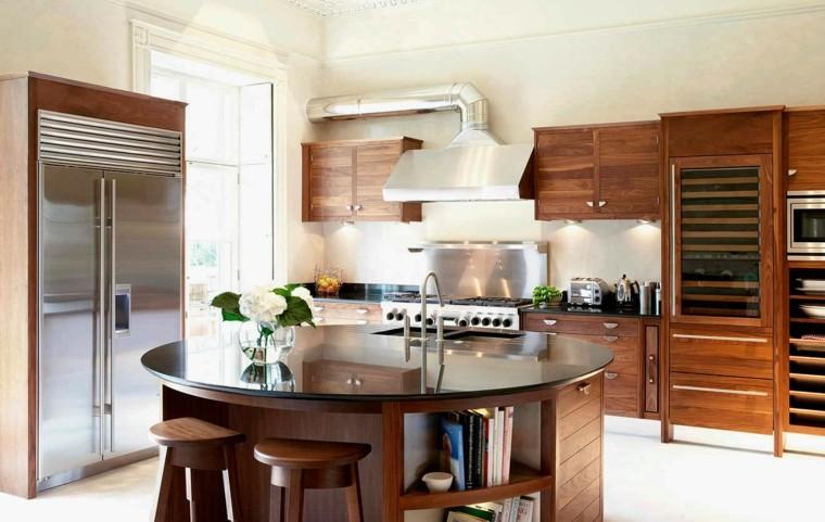 cocinas con isla diseno forma ovalada ideas