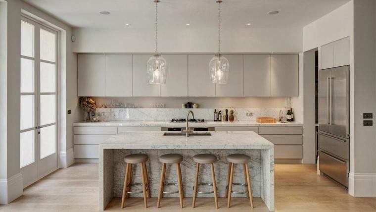 cocinas con peninsula marmol lujoso ideas
