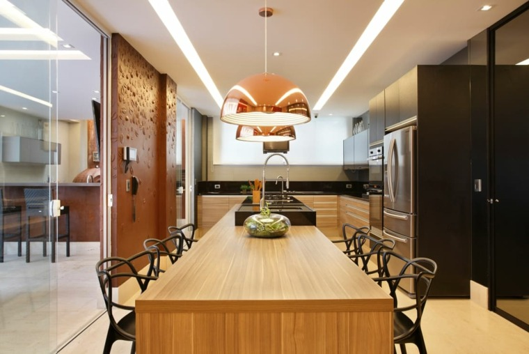 cocinas con isla mesa comedor ideas