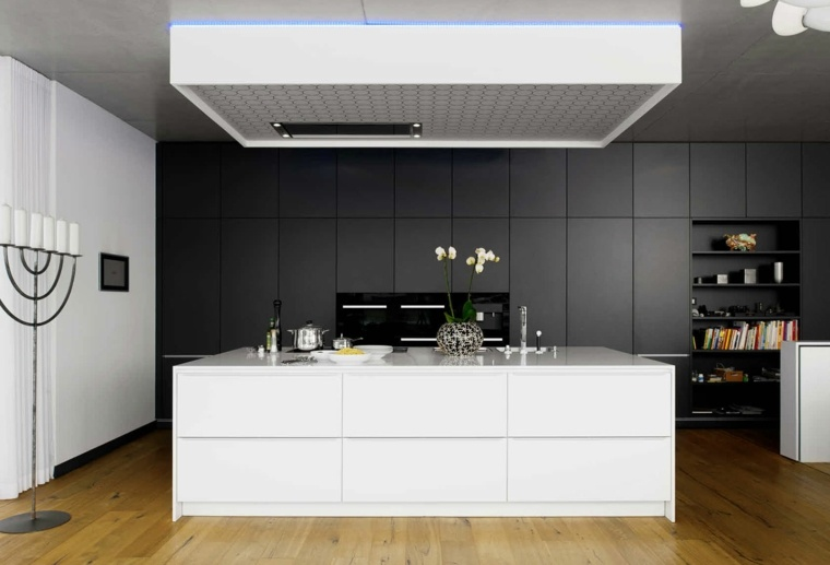 cocinas con peninsula muebles blanco negro ideas