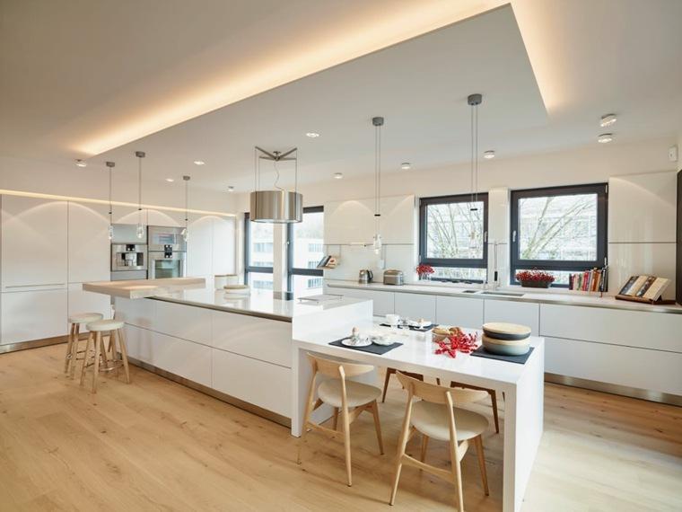 cocinas con isla muebles blancos ideas