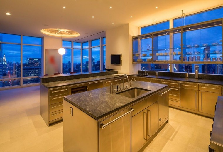 cocinas de diseño ideas minimalista acero inoxidable puertas