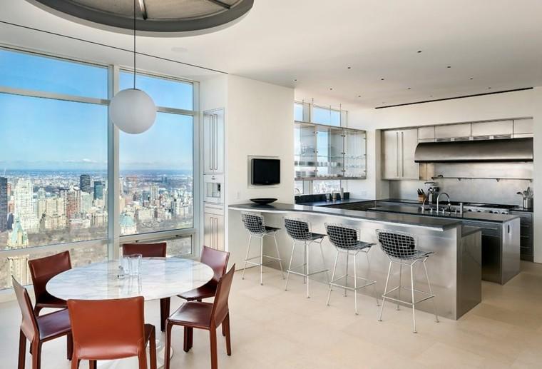 cocinas de diseño ideas sillas colores acero mesas comedores