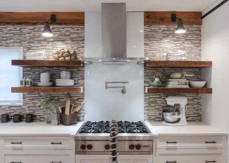 cocinas rusticas diseños estantes madera lineas