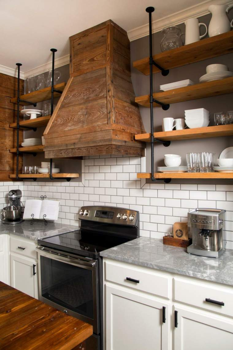 cocinas rusticas diseños madera natural acabados